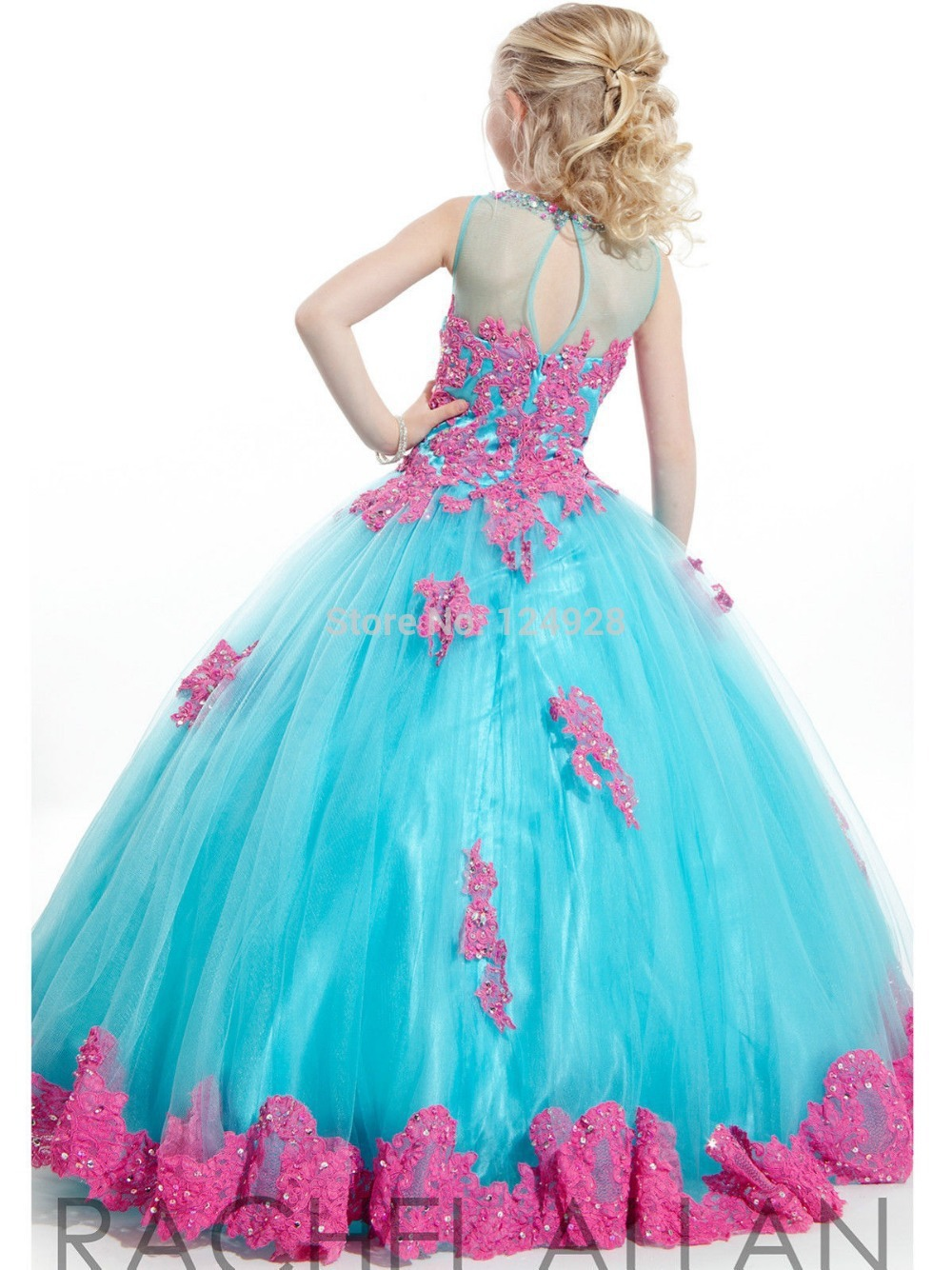 Girls Pageant Dresses Ball Gown High Collar Blue Green Red Beaded ...