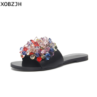 Italian Summer Flat Sandals Women Shoes 2019 Style Brand Slip On Luxury Sandals Mature Ladies black Slippers Shoes woman us 11