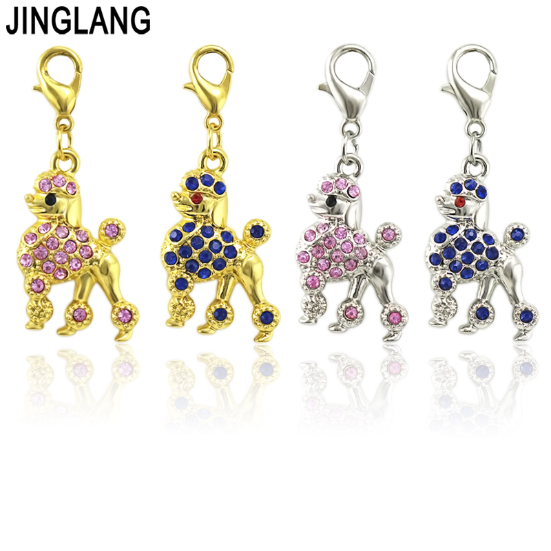 JINGLANG 50 Pieces Rhinestone Dog Charm Best friend mom Charms Pendant Jewelry Wholesale