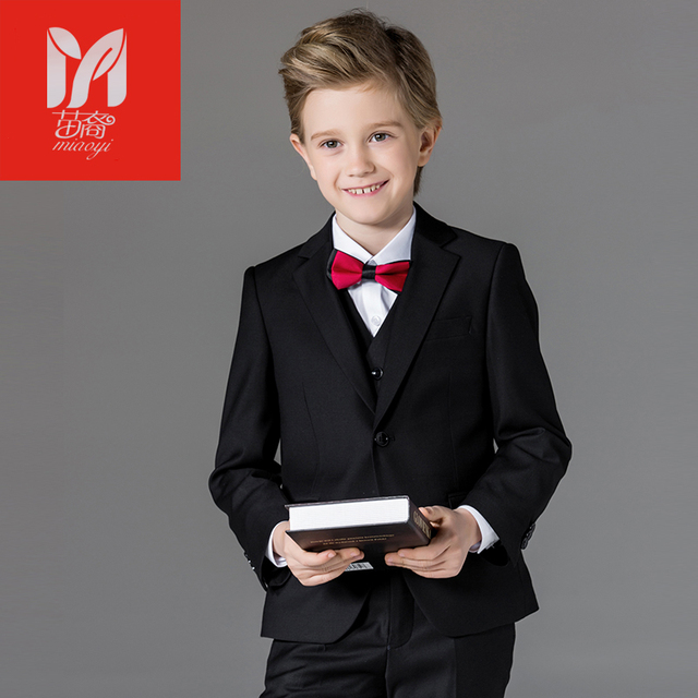 Boys Formal Suits for Weddings Brand England Style Child Black Party Tuxedos Boys Formal Suits Blazer+Pants+Shirt+Vest 4-14Y