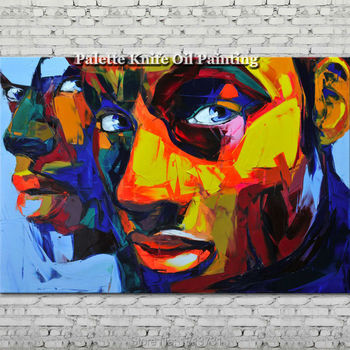 Hand painted Francoise Nielly Palette knife portrait Face Oil painting Character figure canva wall Art picture 12-12