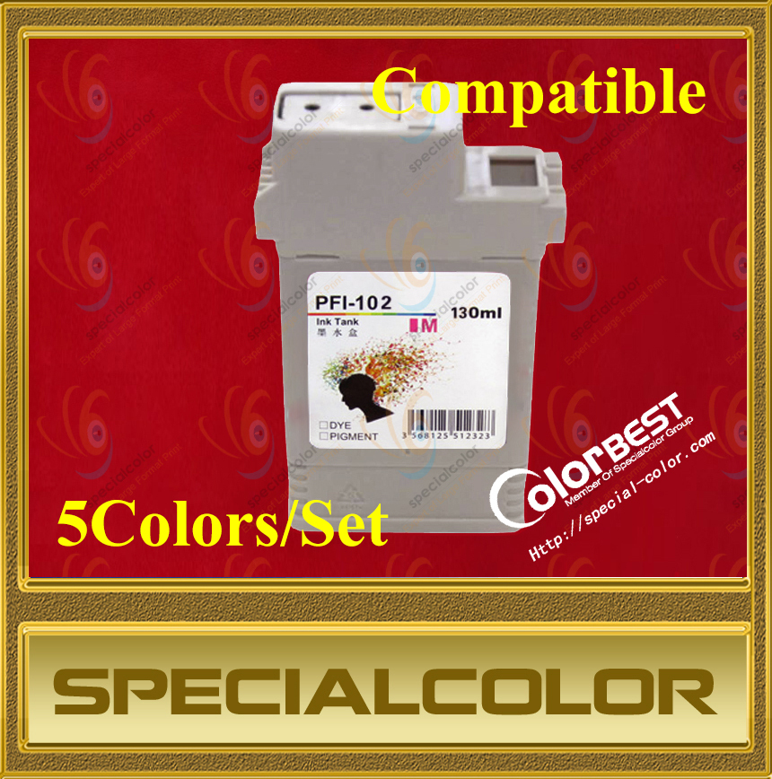 5 Colors/set High Quality 130ml Printer Ink Cartridge PFI102 Pigment Ink Tank with Chip for IPF500/510/600/610/700/710 inkjet printer ink heater inkjet printer ink cartridge heater thermostat printer parts use for 4 colors ink cartridge