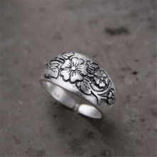 Retro 100% 925 Sterling Silver Carved Plum Flower Rings for Women Jewelry Fashion Open Adjustable Finger Ring 16.50mm Wide