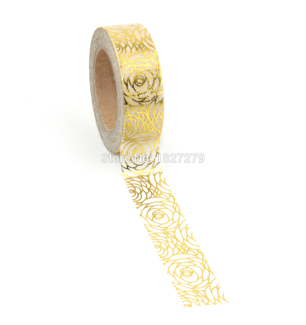 NEW 1X Flower Glitter Gold Foil 10M Paper Washi Tapes Flower Leaves Pattern Masking Tape For Adhesive Scrapbooking