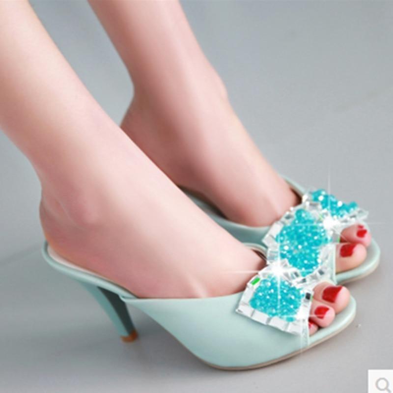 ФОТО Lady Plus size (4-12)Cheap fashion Luxury Diamond Peep toe Single Thin high heels Summer Beach shoes women pumps Stiletto Sandal