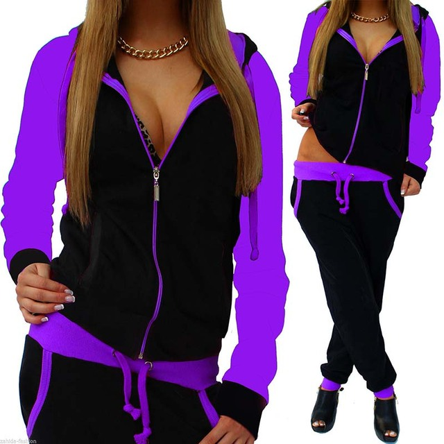 2 Piece Zipper Sports Wear for women with solid hoodies