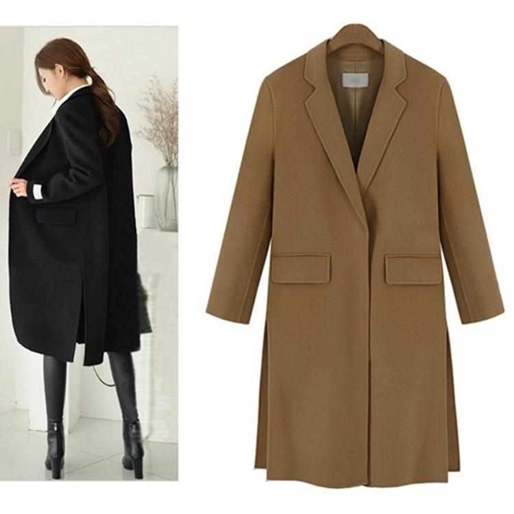 Fashion Side Slit Turn down Collar Medium Long font b Women b font Woolen font b