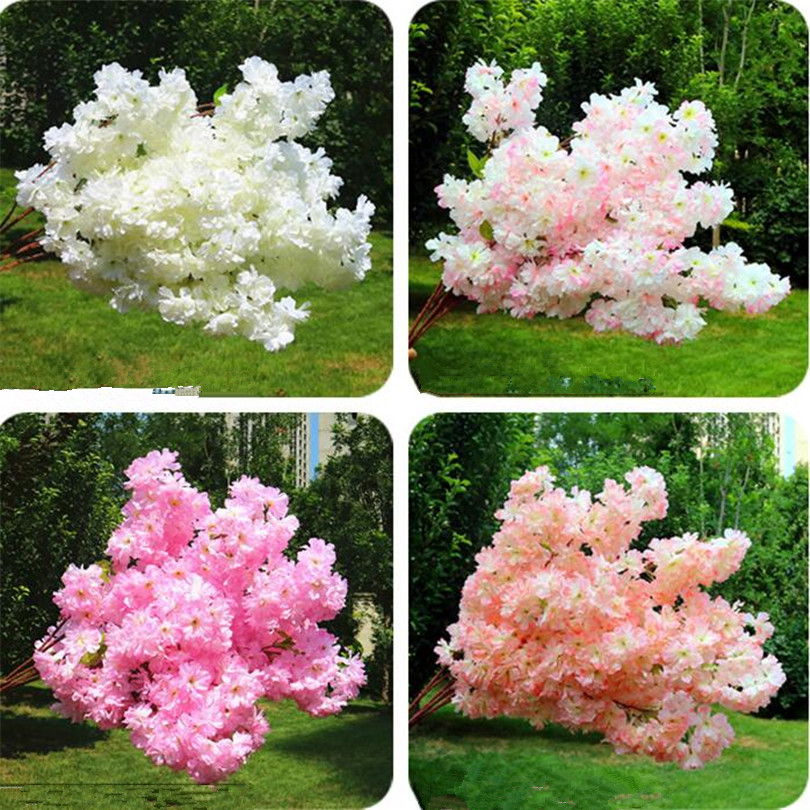 30p Artificial Waterfall Cherry Blossom Flower Branch White/pink/Champagne Cherry Begonia Sakura Tree Stem with Green Leaf-in Artificial & Dried Flowers from Home & Garden