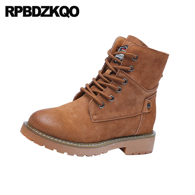 36dcc3275 flat work fur autumn winter women combat shoes round toe fall brown ankle  height increasing military front lace up casual boots