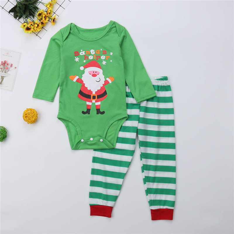 Family Matching Christmas Clothes Dad Mom Kids Pajamas Set Women Men Baby  Sleepwear Printing Santa Nightwear Casual Green Outfit-in Matching Family  Outfits ... d98052174