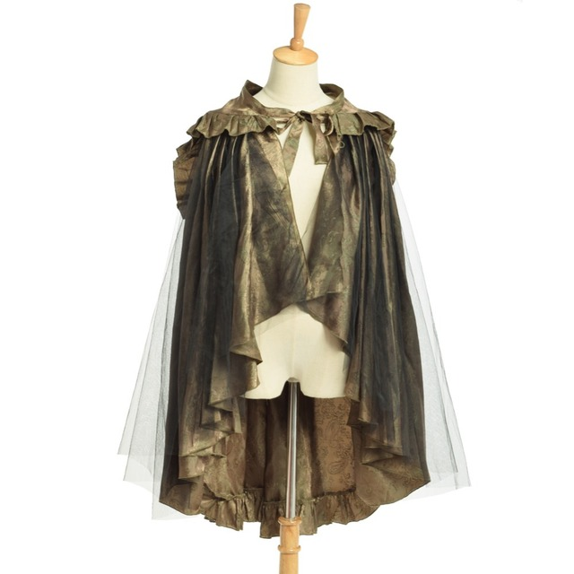 Women Steampunk Victorian Goth Chartreuse Flounce Bustle Sarong Skirt (Can be weared as Cape Top)