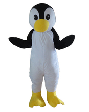 New style Lovely Black Penguin  Mascot Costume With Bright Big Eyes Yellow Flat Mouth White Face Adult Size