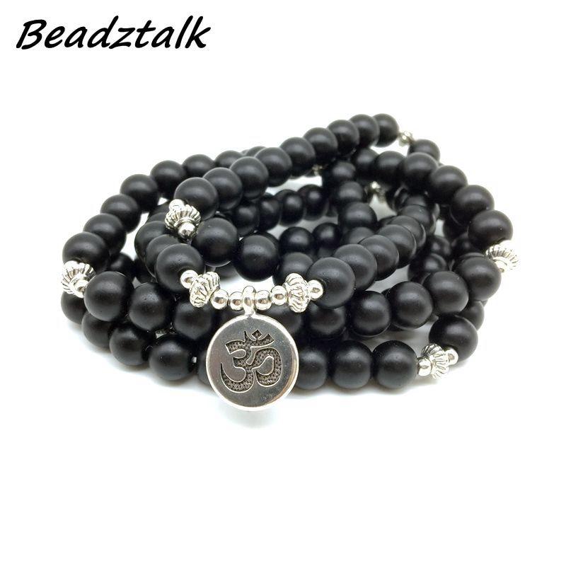 Fashion Women`s Bracelet Matt Dull Polish Black Onyx With Lotus Ohm Charm Yoga Bracelets 108 mala necklace dropshipping