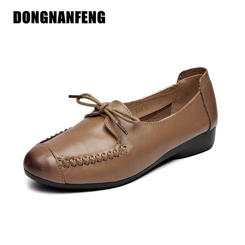 DONGNANFENG New  Women Shoes Old Mother Flats Casual Rubber Sole Cow Genuine Leather Lace Up Round Toe Vintage Size 35-41 SS-112 xiuteng 2018 spring genuine leather women candy color flats soft rubber sole ladies casual high quality beach walking shoes