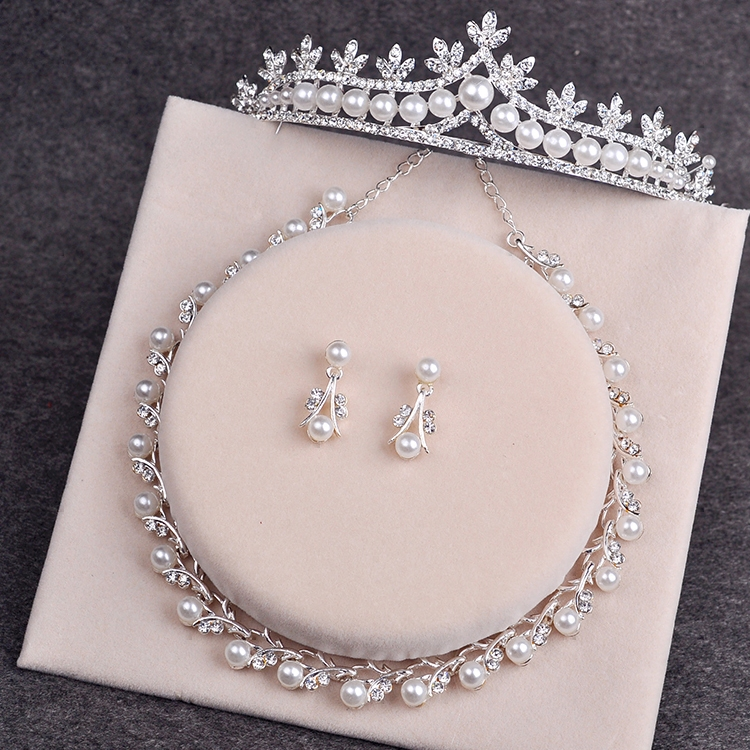 Bride Diaries Wedding Accessories Simulated Pearl Tiara Crown Earrings Necklaces Set Silver Plated Bridal Jewelry Sets