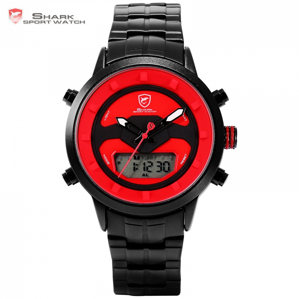 Requiem Shark Sport Watch Red Dashboard LCD Digital Backlight Date Alarm Stopwatch Quartz Stainless Steel Band
