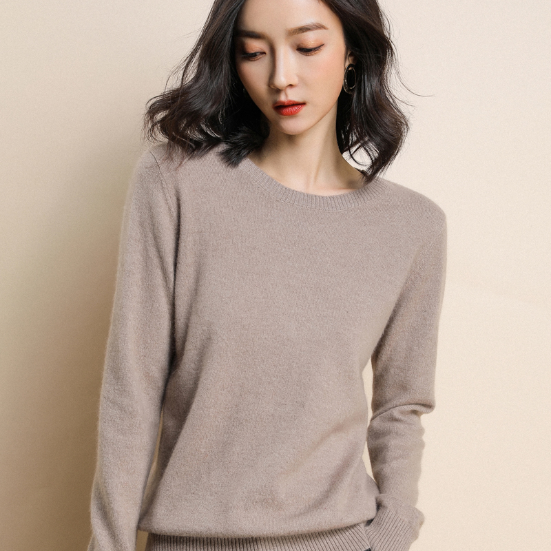 2020 Knitted Women's O-neck Sweater Pullover Spring And Autumn Basic Ladies Sweater Pullover Slim Fit