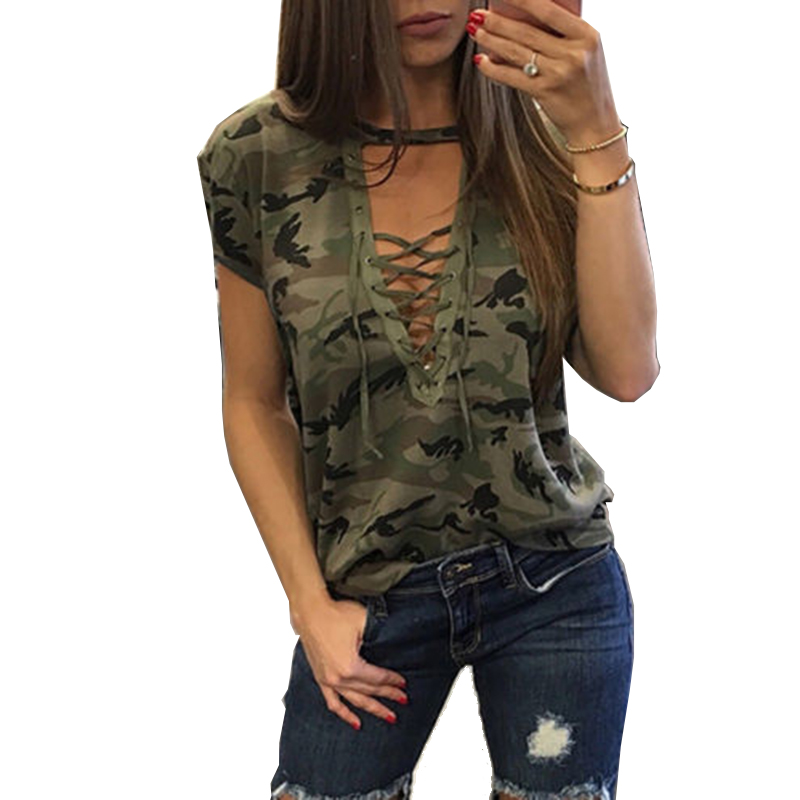 Women Camouflage Bandage T <font><b>Shirt</b></font> Hollow Out Deep V-Neck Summer Casual Top Female Tshirt Of The <font><b>Big</b></font> Sizes Lace Up T-<font><b>Shirts</b></font> image
