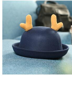 10pcs/lot free shipping korean style korean style children deer fedora girl solid deer hat winter autumn hat