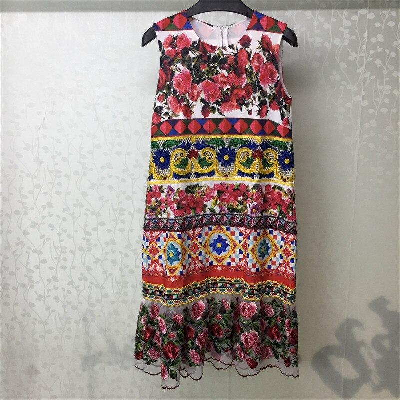 0985fd7a11 Tanie Floral Print Dress Kobiety Lato O neck Elegancka Sukienka Bez Rękaw  oacute w Party 2018 Moda Kobiety Luźna Sukienka Ceny .