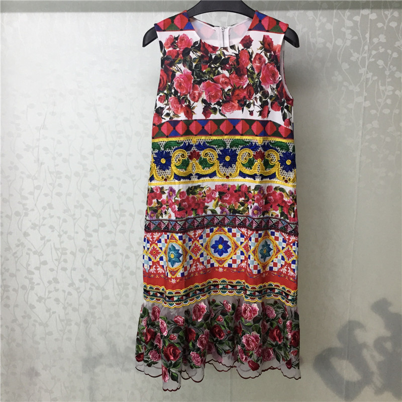 Floral Print Dress Women Summer O-neck Elegant Sleeveless Dress Party 2018 Fashion Women Loose Dress