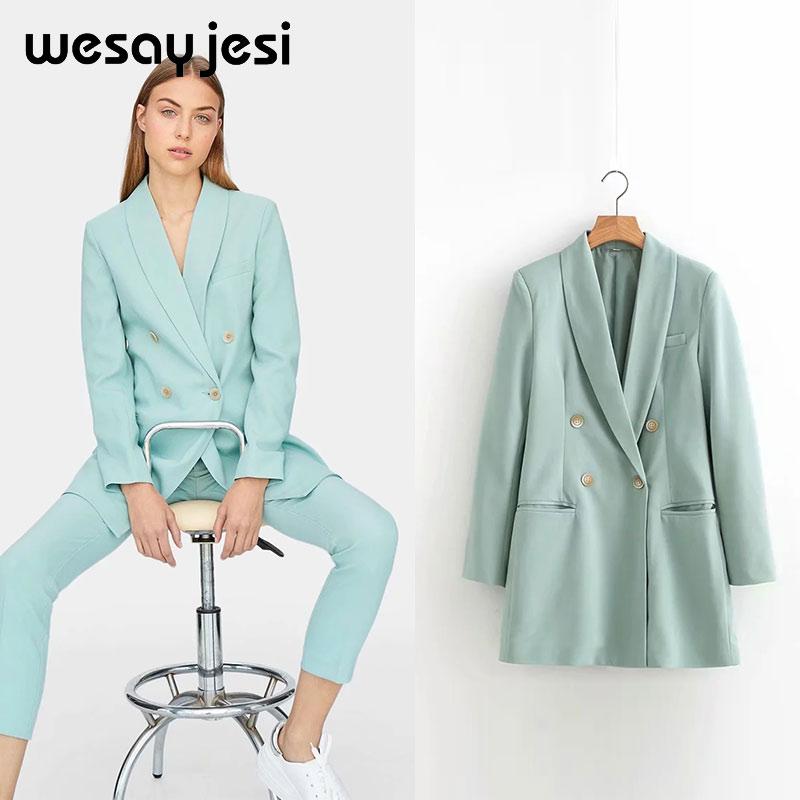2019 Za Solid Long Sleeve Women Blazer Coat Button Casual Coats Autumn Blazer Women Double Breasted Pockets Tailored Collar Coat