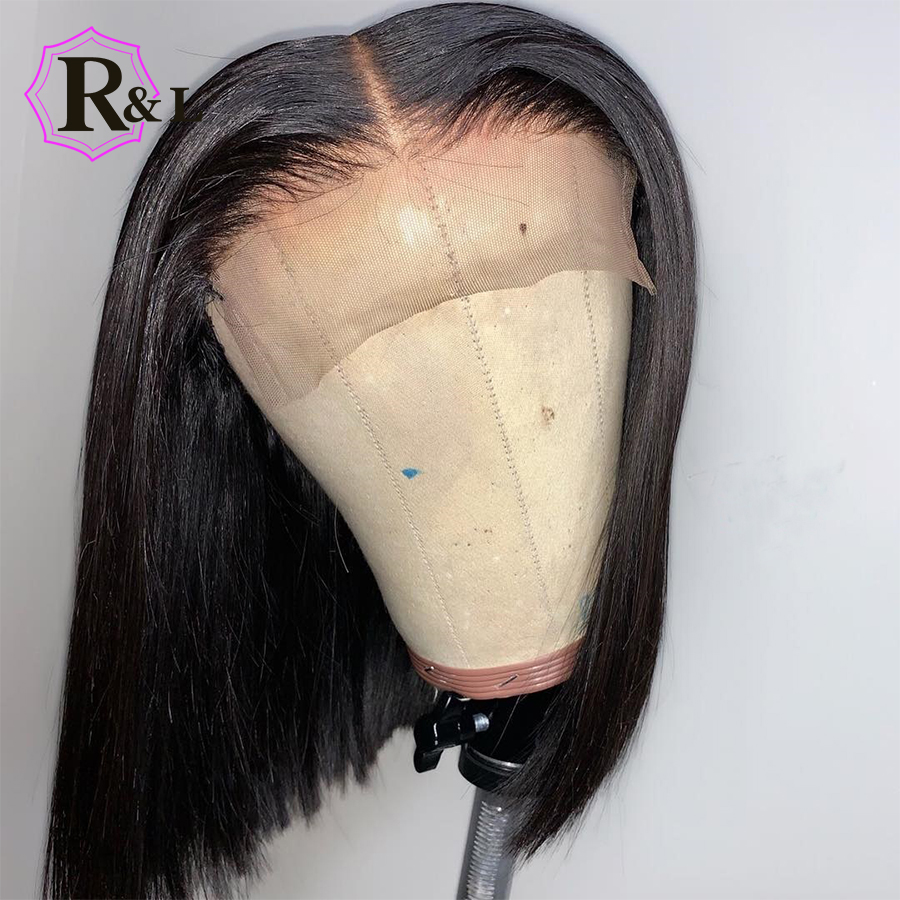 RULINDA Lace Front Human Hair Wigs For Women Short Straight Bob Wigs Brazilian Remy Hair Lace