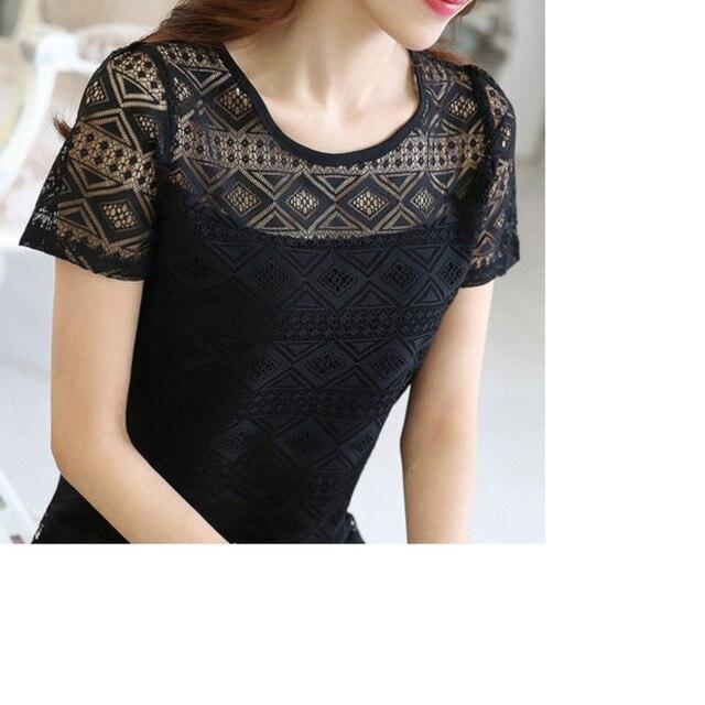 Ladies office Shirt Women White Lace Blouse Short Sleeve Plus Size Korean Crochet Hollow Out Tops Camisas Femininas Qz* 5