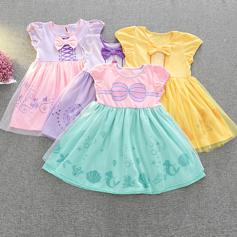 Princess Belle Pattern Dress Fairy Tutu Mini Dress Kids Fancy Party Halloween Dress Beauty Beast Cosplay Costume Dress Cloth christmas halloween princess dress cosplay snow white dress costume belle princess tutu dress kids clothes teenager party 10 12