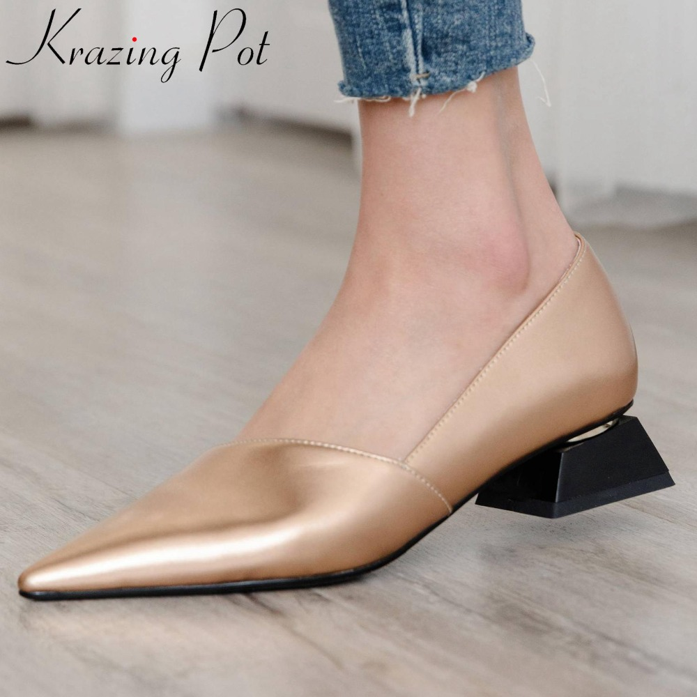 Krazing Pot European designer low heels slip on full grain leather oxford pointed toe elegant lady