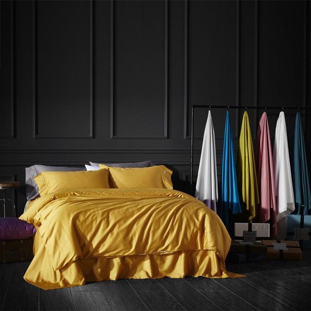 3/4pcs Luxury Egypt Cotton pure 27 colors Bedding set silky Duvet Cover set bedsheet Pillowcase Twin Queen King Size bed linen
