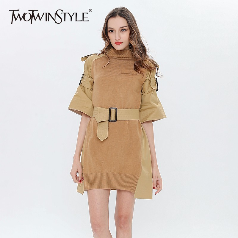 TWOTWINSTYLE Patchwork Knitted Dress Female Lace Up Mini Dresses For Women Spring Knitting Tunic Large Size Clothes Spring 2018-in Dresses from Women's Clothing
