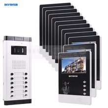 DIYSECUR 12 x 4.3inch Monitors 4-Wired Apartment Video Door Phone Audio Visual Intercom Entry System IR Camera For 12 Families