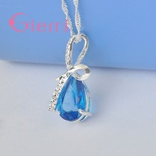 Luxurious Crystal Pendant Necklace for Ladies Girl Women 925 Sterling Silver With Fire Cubic Zirconia New Trendy Fashion(China)