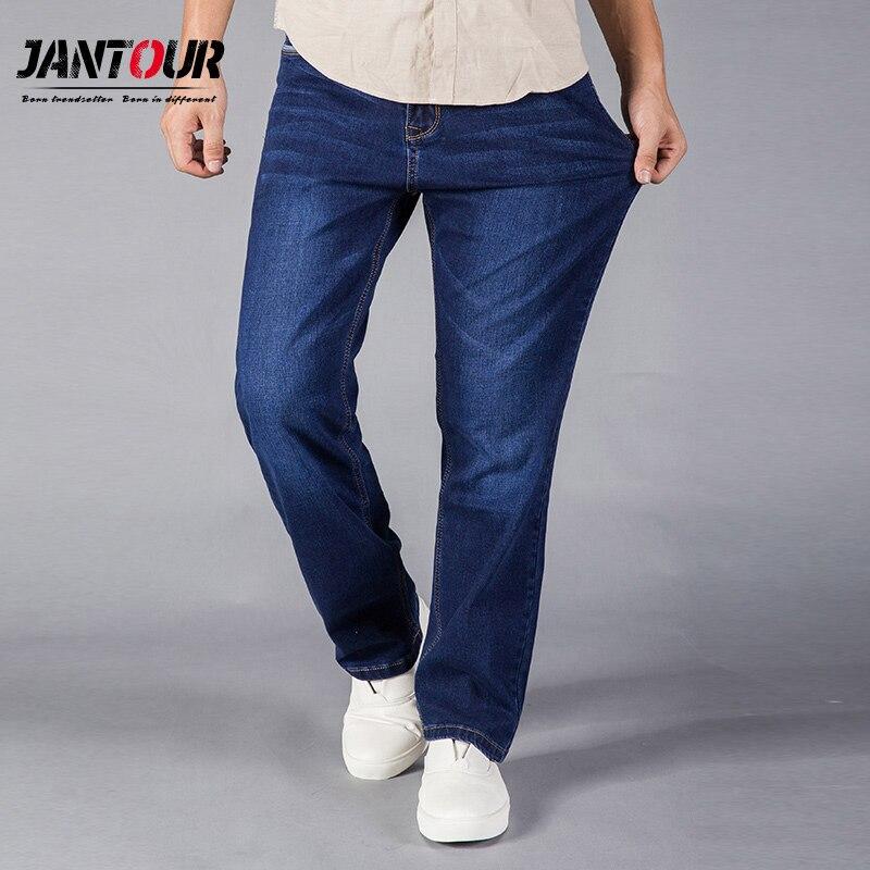 Jantour 2017 Jeans Uomo Etero Fit Blu Denim Stretch Pantaloni Pantaloni di Grandi dimensioni di Business Cowboys Uomo Jeans 40 42 44 formato