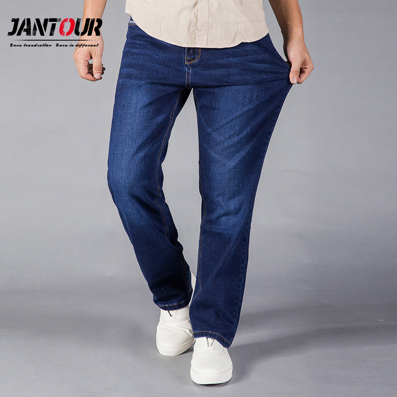 jantour 2017   Jeans   Men Straight Fit Blue Stretch Denim Pants Large size Trousers Business Cowboys Man   Jeans   40 42 44 size