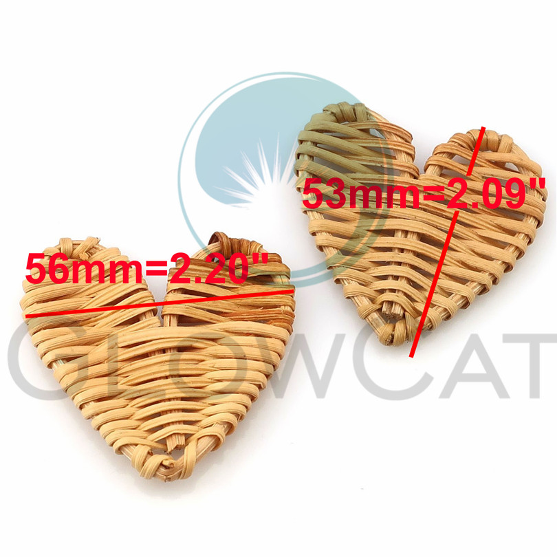Charms Nice 2pcs Heart Shape Handmade Wooden Straw Weave Rattan Vine Braid Charms Diy Rattan Craft Earrings Supplies Keep You Fit All The Time Jewelry Sets & More