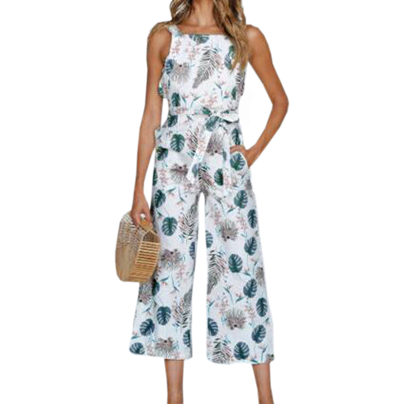 Women Boho Sunflower Printed Jumpsuit Femme Summer Jumpsuits Overalls Girl Sleeveless Beach Casual Romper Pocket Plus Size GV429