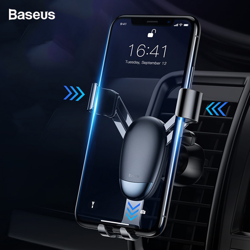 Baseus Metal Mini Gravity Car Phone Holder For Phone In Car Air Mount Mobile Phone Holder Stand For IPhone Xs Max X Samsung S9