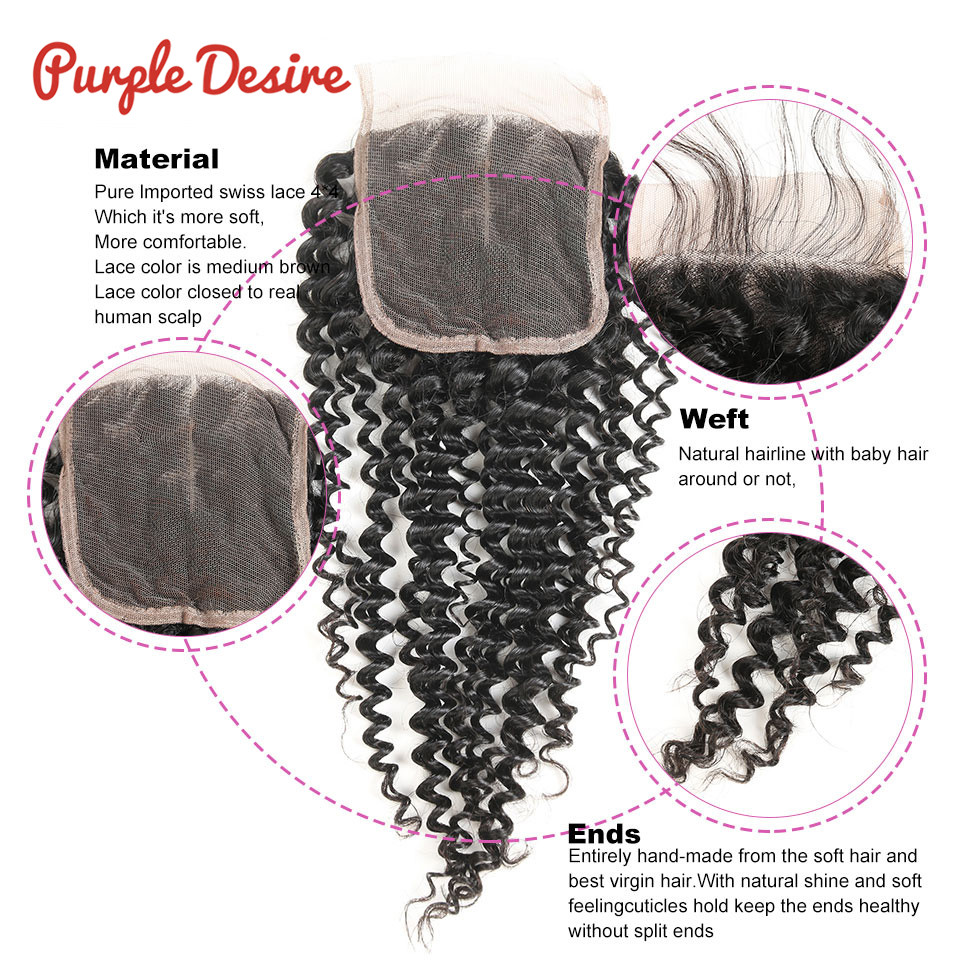 Brazilian Hair Weave Bundles with Closure Kinky Curly Hair with Closure 34 Bundles Remy Human Hair with Closure Swiss Lace (5)
