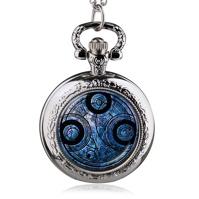 Antique Doctor Who quartz Necklace Pocket Watch Men Dr Who Pendant Chain Gifts F