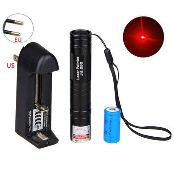 Luz láser roja de 650nm, puntero láser, luz de haz de bolígrafo LED de alta potencia con batería recargable y cargador Universal