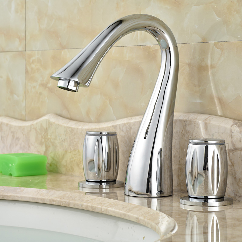ФОТО Best Quality Bathroom 2 Handles 3 Holes Deck Mounted Basin Faucet Chrome Brass Bathroom Mixers with Hot and Cold Water