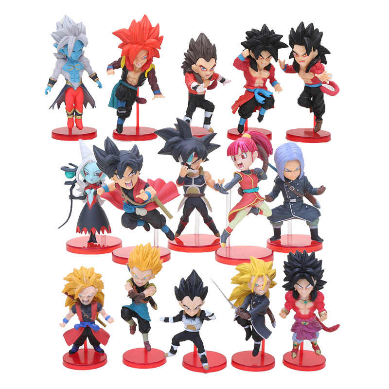 5 pçs/set Figuras de Dragon Ball Z Son Goku vegeta Batalha de Saiyans Super Dragon Ball troncos Collectible Modelo Brinquedos de presente