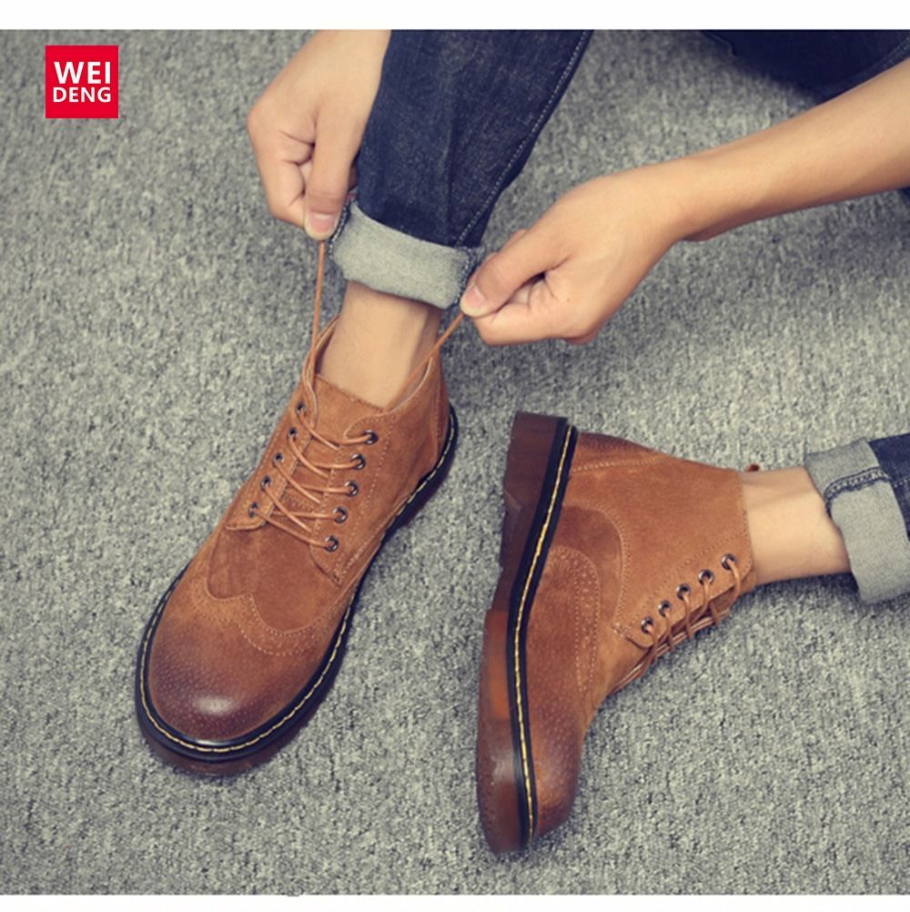 Weideng Classic Brogue Women Genuine Leather Boot Casual Winter Shoes Lace Up Work Shoes Non slip Hoof Heels Plus Size
