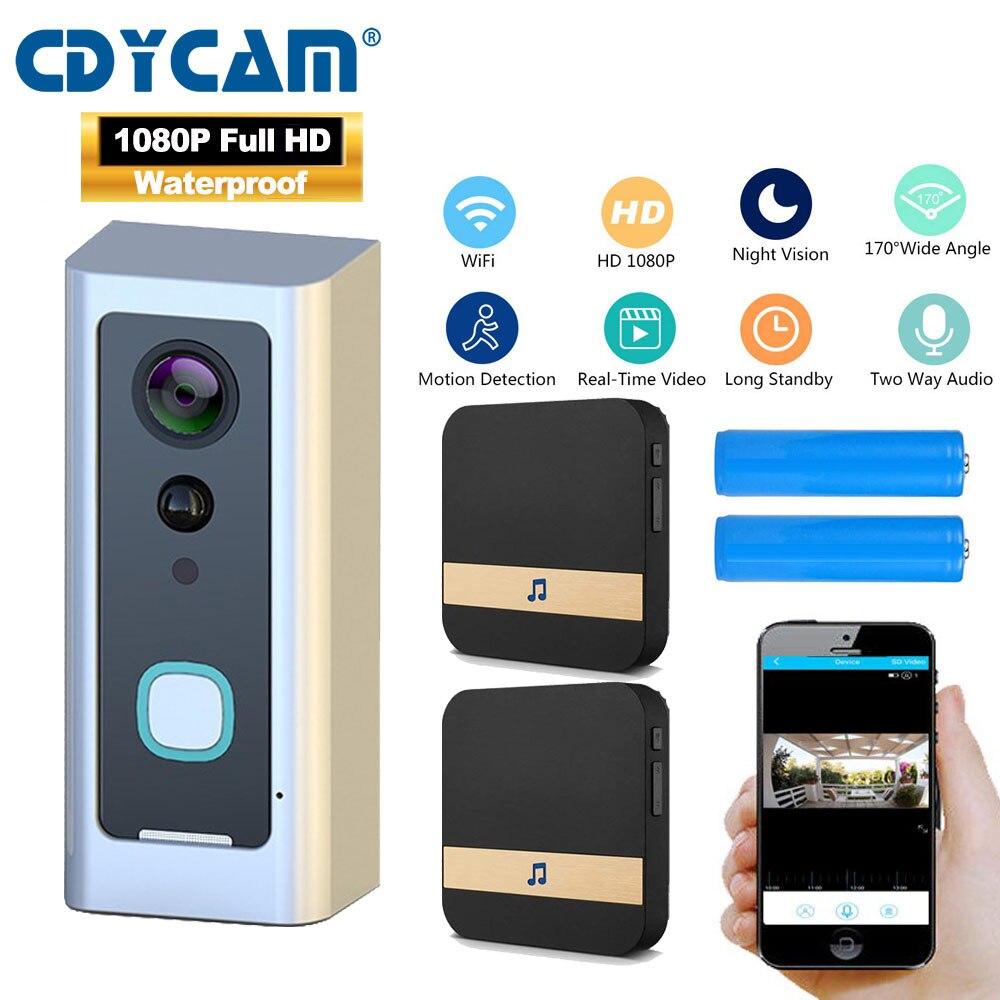 CDYCAM HD 1080P Wifi Waterproof Video Doorbell Wireless Home Battery Camera Two-way audio Talk Night Vision PIR Smart Door Phone