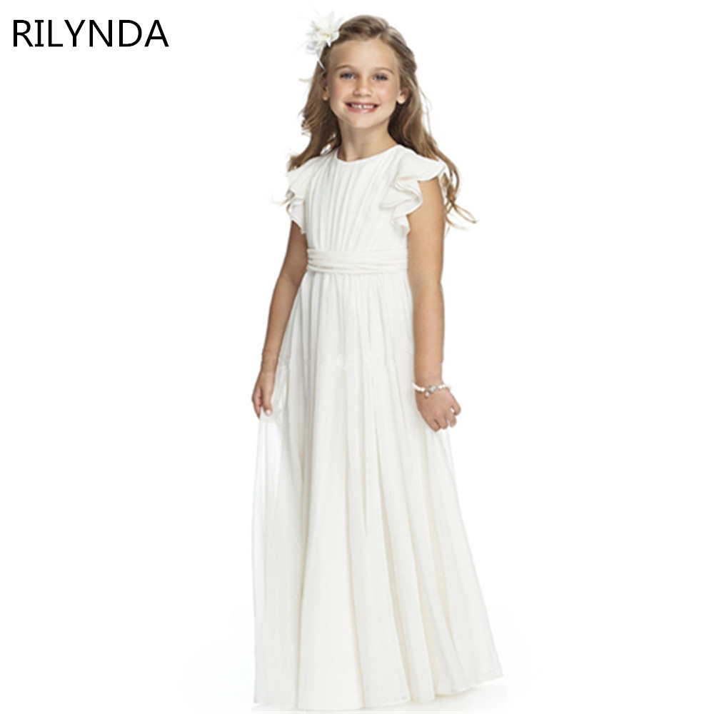 New Flower Girl Dress For Wedding White/Ivory Appliques A-Line Short Sleeves O-neck First Communion Gowns Vestidos Longo