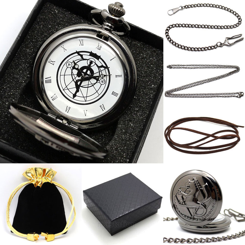 Luxury Gift Set Fullmetal Alchemist Quartz Pocket Watch Kit With Necklace Leather Chain Box Bag For Men Women big g quartz pocket watch lot with metal pocket necklace leather chain box bag p446ckwb