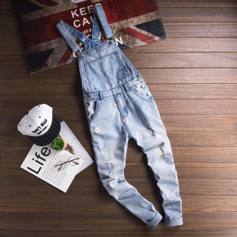 Mcikkny Fashion Men\`s Ripped Hip Hop Denim Bib Overalls Slim Fit Casual Streetwear Jumpsuits For Male Suspender Pants Washed (10)