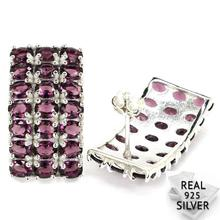 5.5g Real 925 Solid Sterling Silver Deluxe Top Purple Amethyst Mothers Day Stud Earrings 23x13mm